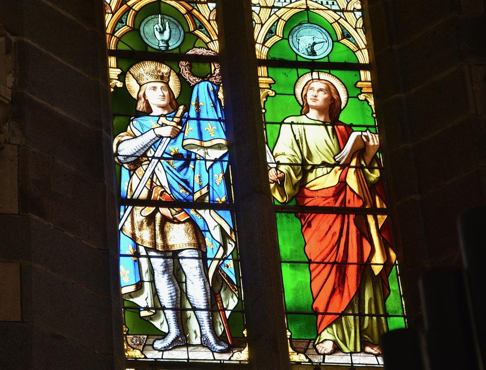 Stained Glass, Glass Colorful, Church, Religious Figure