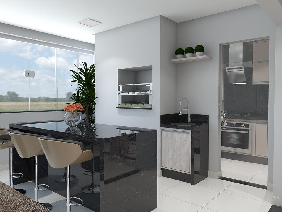 Balcony, Kitchen, 3d, Render, Moveis Planejados