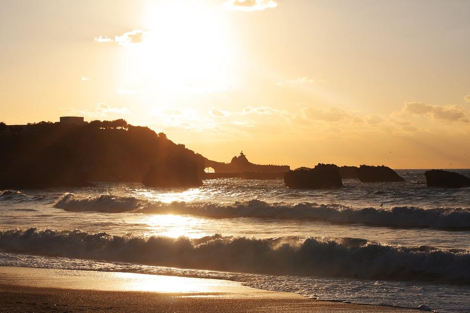 Beach, Sea, Sand, Horizon, Sun, Renécros, France