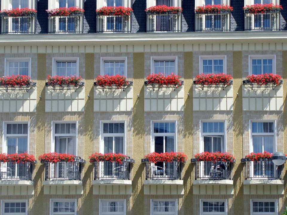 Facade, Balconies, Flowers, Hotel, Windows, Repetition