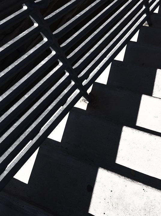 Stairs, Steps, Down, Black And White, Shape, Repetition