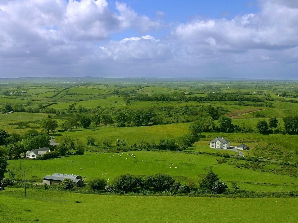 Landscape, Green, Reported, Fields, Ireland, Juicy, Sky