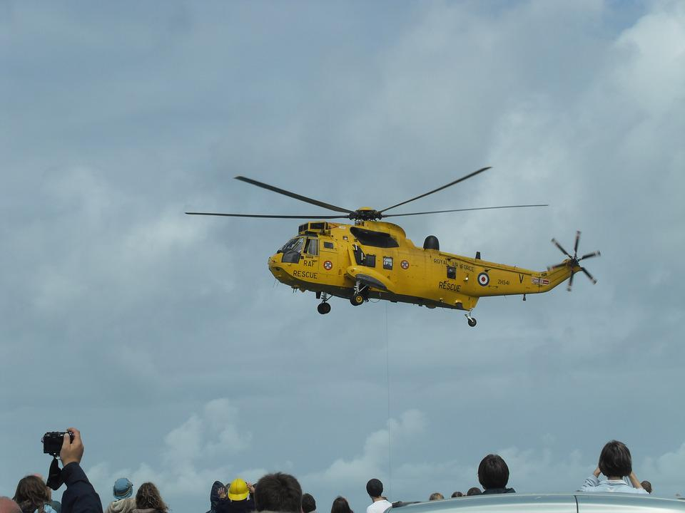 Helicopter, Rescue, Sea, Air Force, People, Look Up