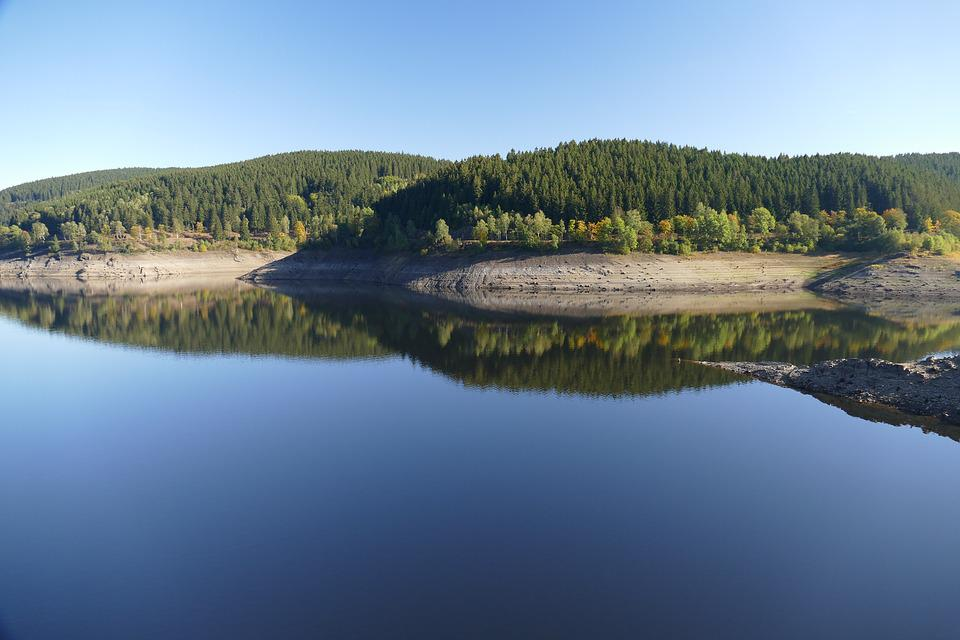 Panorama, Oker, Reservoir, Landscape, Mountains, Nature