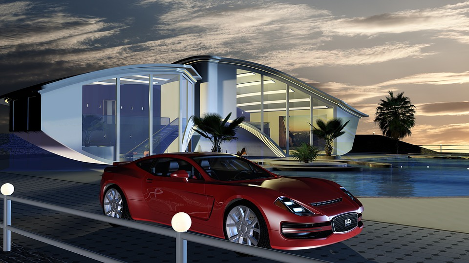 Futuristic, Residential Buildings, Villa, Sports Car