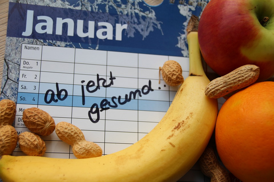 Resolutions, Calendar, New Year, Fruit, Banana, Apple