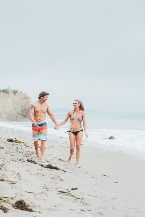 Walking, Beach, Couple, Resort, Vacation, Holding Hands