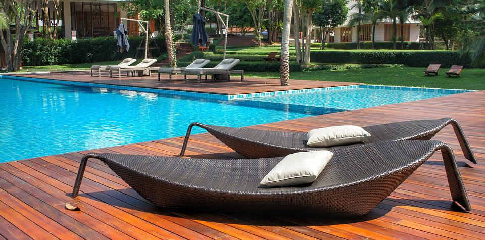 Relaxing, Loungers, Pool Side, Swimming Pool, Resort