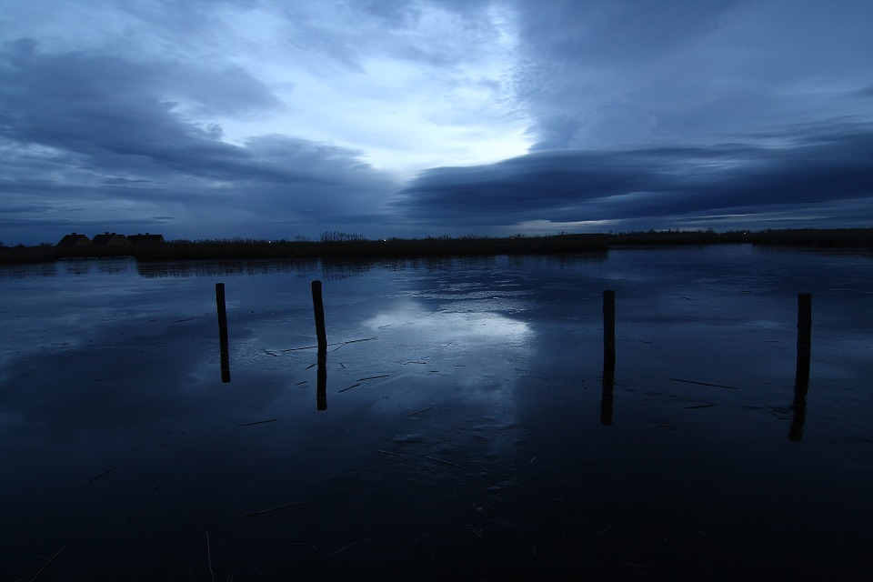 Lake, Sky, Clouds, Blue Hour, Mirroring, Rest, Twilight