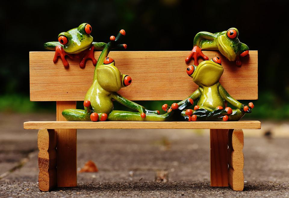 Frogs, Yoga, Bank, Bench, Relaxed, Fig, Funny, Rest