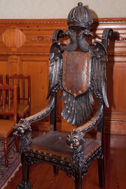 Throne, Wood, Carved, Turned, Rest, Leather
