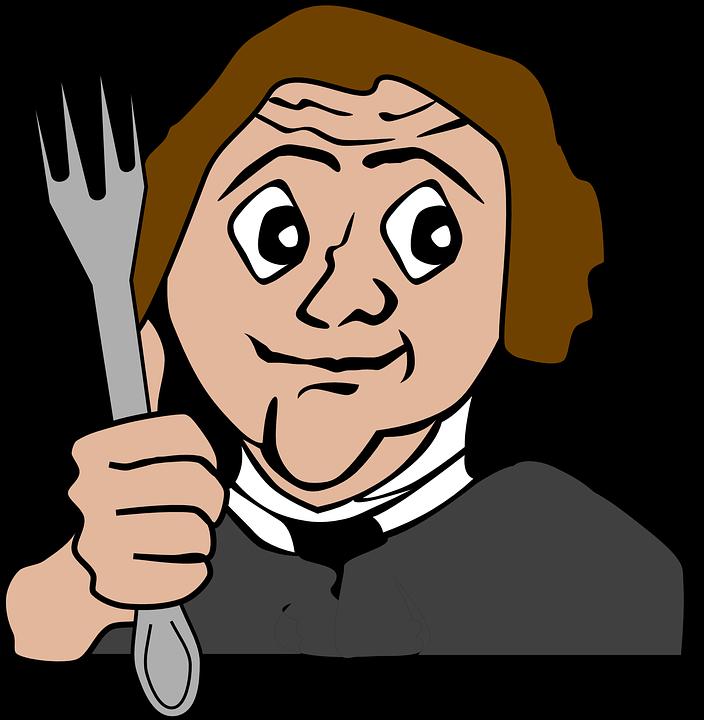 Hungry, Fork, Eating, Man, Cartoon, Male, Restaurant