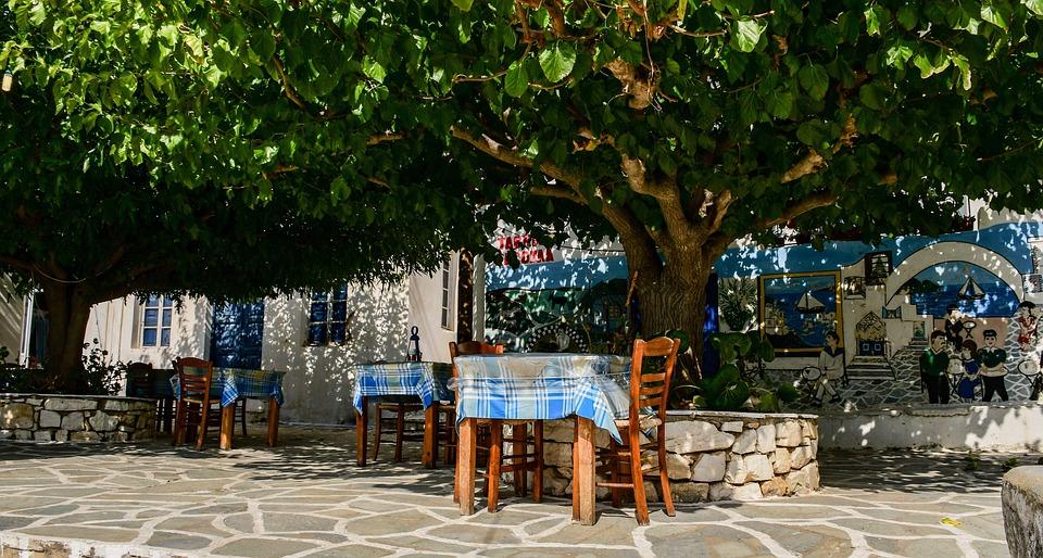 Terrace, Restaurant, Trees, Shady, Greece, Paros