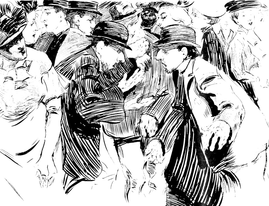 Drawing, Men, Fashion, Old, Vintage, Retro, Hats