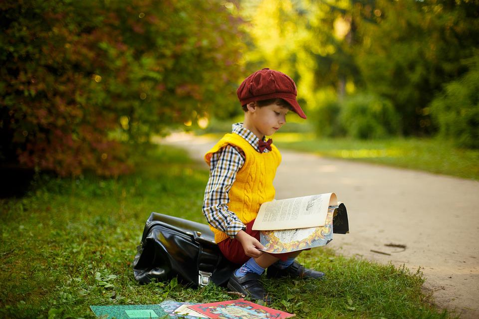 Books, Boys, Forest, Park, Vintage, Retro, Glade, Kid