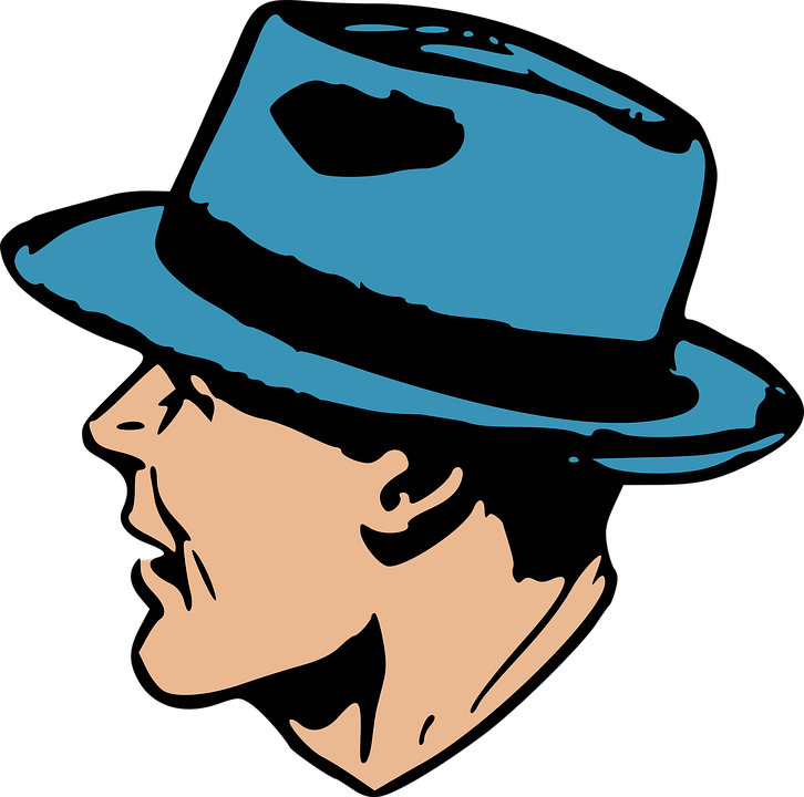Blue, Hat, Man, Retro