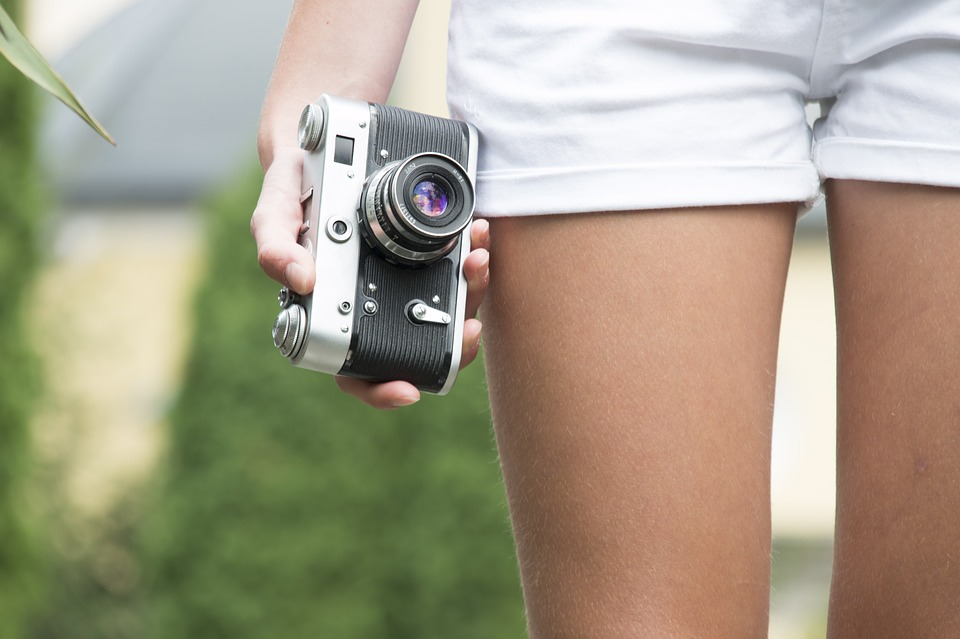 Girl, Camera, Old, Retro, Holds, Travel, Idea, Spring