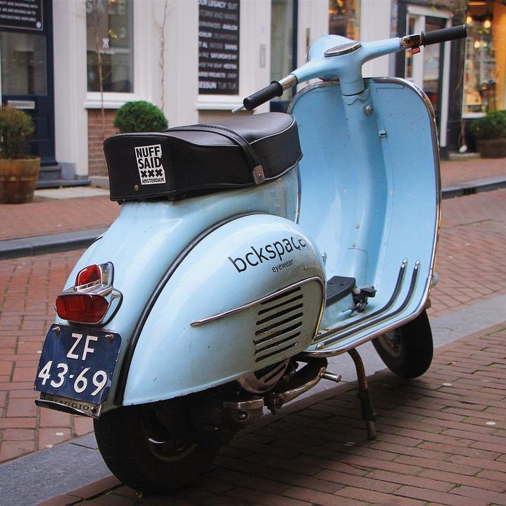 Moped, Motorcycle, Vespa, Retro, Blue, City, Amsterdam
