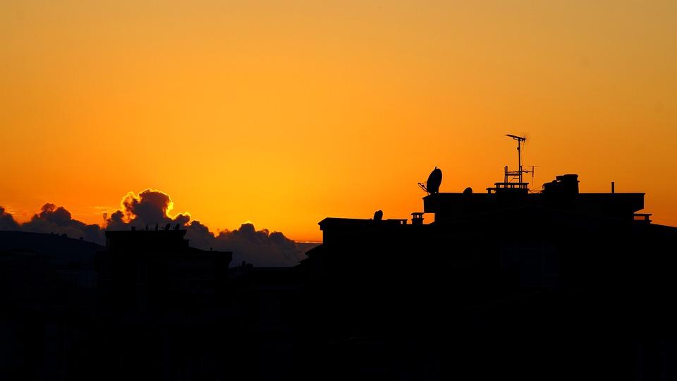 Sunset, City, Mastiff, Reverse Light, Architecture