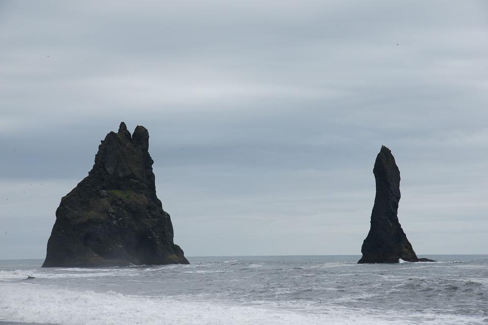 Reynisdrangar, Cliff, Iceland, Beach Reynisfjara, Troll