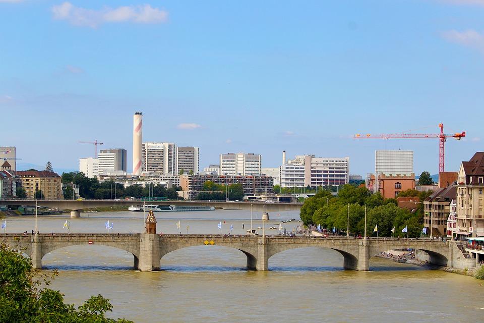 Basel, Rhine, Switzerland, Rheinbrücke, Industrial Area