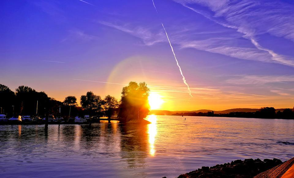 Sunset, Rhine, Dusk, Abendstimmung, Evening Sky, Nature