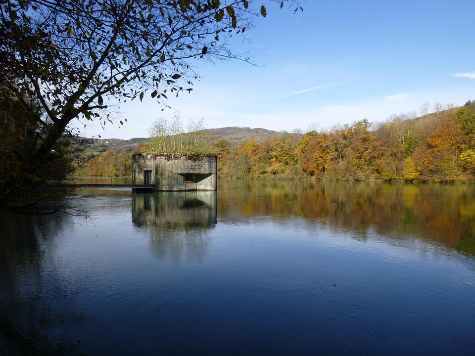 Bunker, Rhine, River, Autumn, Forest, Water, Landscape