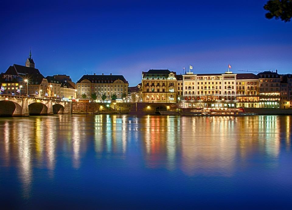 Basel, Rhine, Blue Hour, Mirroring, Lights, Atmospheric