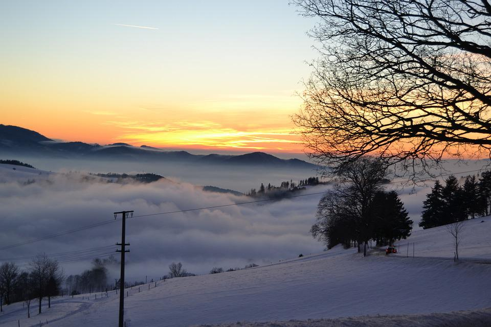 Black Forest, Rhine Valley, Winter, Clouds, Panorama