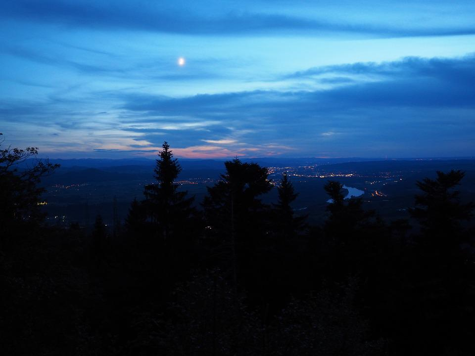 Night, Dark, View, Outlook, Hotzenwald, Rhine Valley