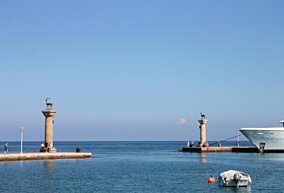Rhodes, Port, Mandraki, Harbour Entrance, Colossus