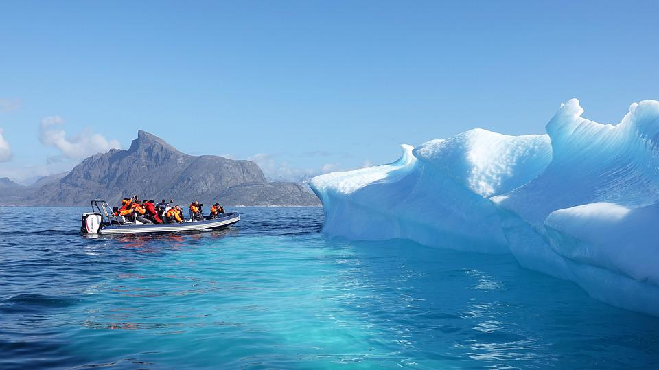 Iceberg, Ice, Greenland, Tourism, Rib, Boat,, Dinghy