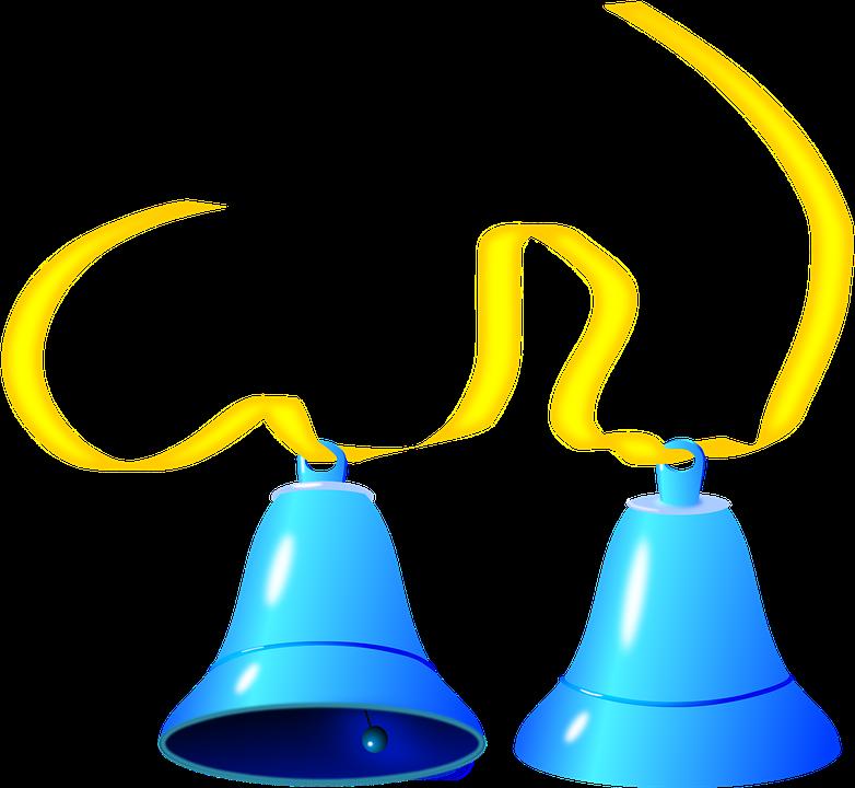 Bells, Blue, Ringing, Ribbon, Yellow
