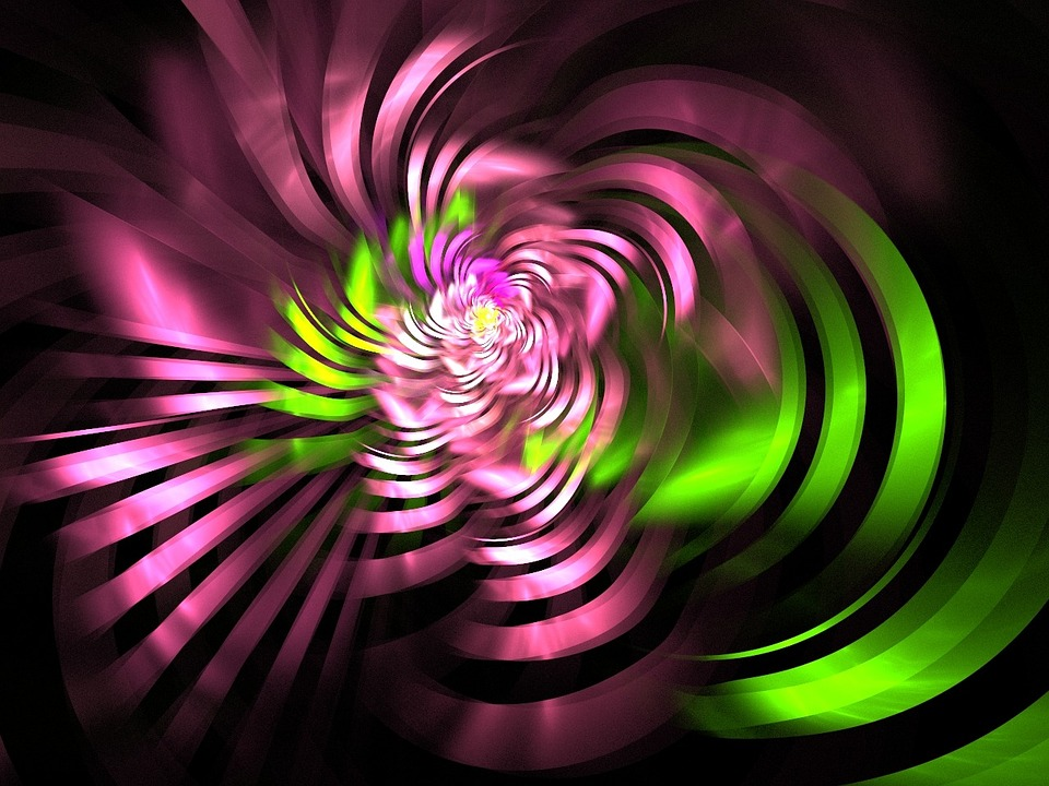 Fractal, Pink, Green, Swirls, Ribbon, Design, Pattern