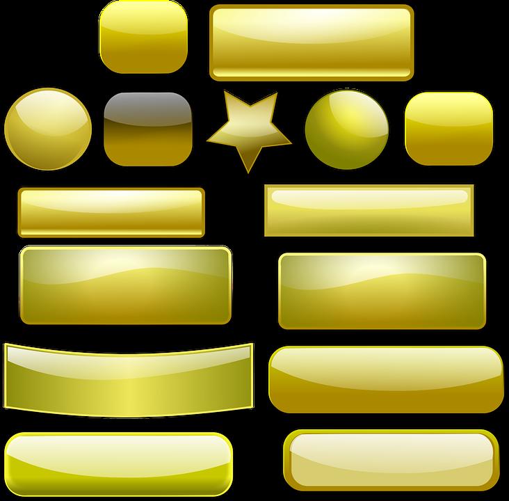 Banner, Button, Gold, Golden, Gui, Badges, Ribbons