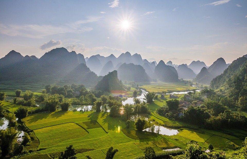 Rice Fields, Sunset, Trungkhanh, High By