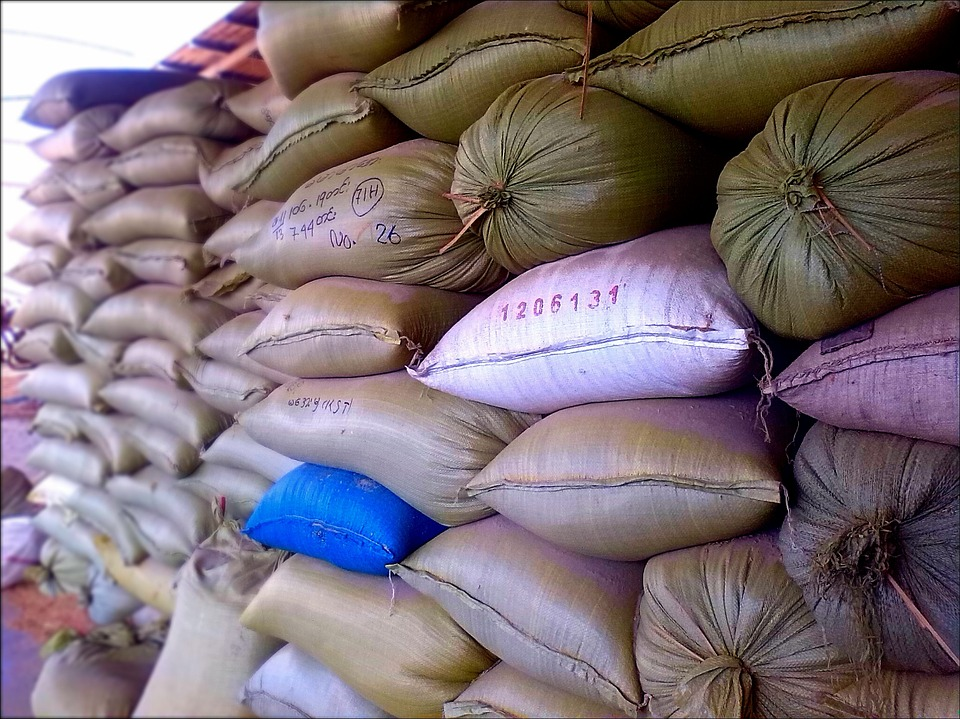 Rice Sacks, Rice, Sacks, Storage, Grain, Food, White
