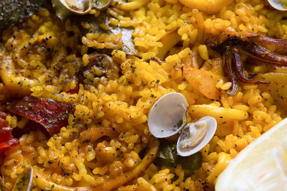 Paella, Rice, Clams, Food, Seafood, Spanish Food