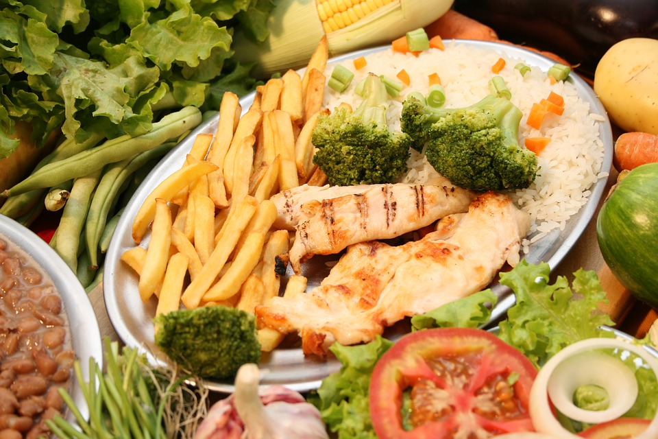 Plate, Potatoes, Chicken, Rice, Broccoli, Dinner