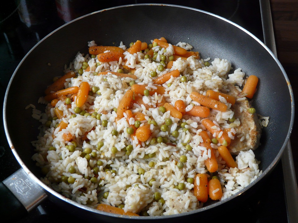 Rice Ladle, Rice, Pan, Peas, Carrots, Court, Risotto
