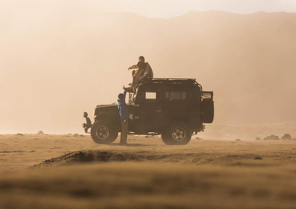 Friends, Jeep, Desert, Ride, Travel, Journey, Man