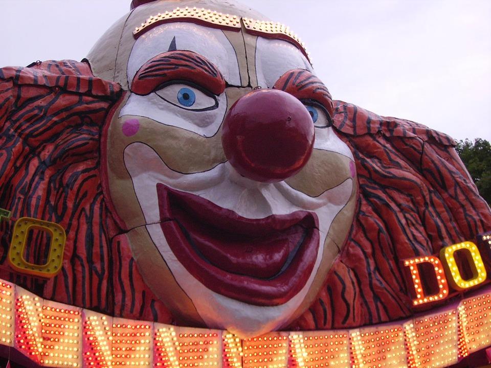 Clown, Mask, Figure, Head, Wooden Mask, Ride, Fair