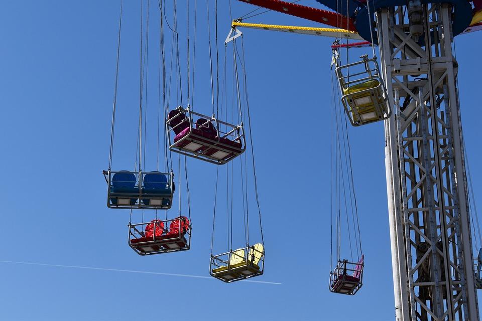 Funfair, Women, Carousel, Tower, Fun, Rides