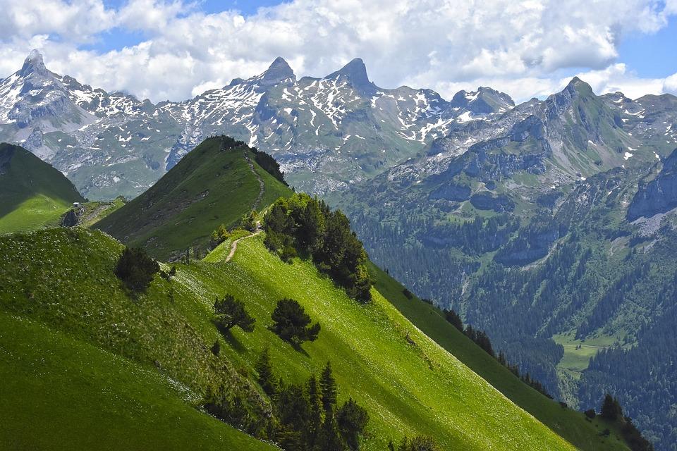Mountains, Ridge, Tightrope Walk, Alpine, Landscape