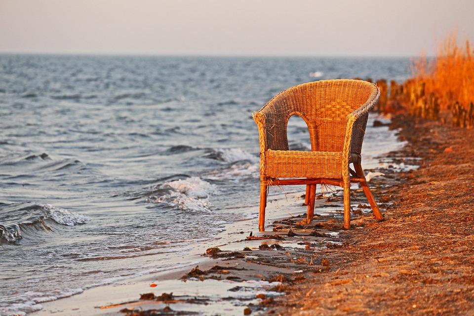 Sunset, Rattan Chair, Basket, Abandoned, Bodden, Riems