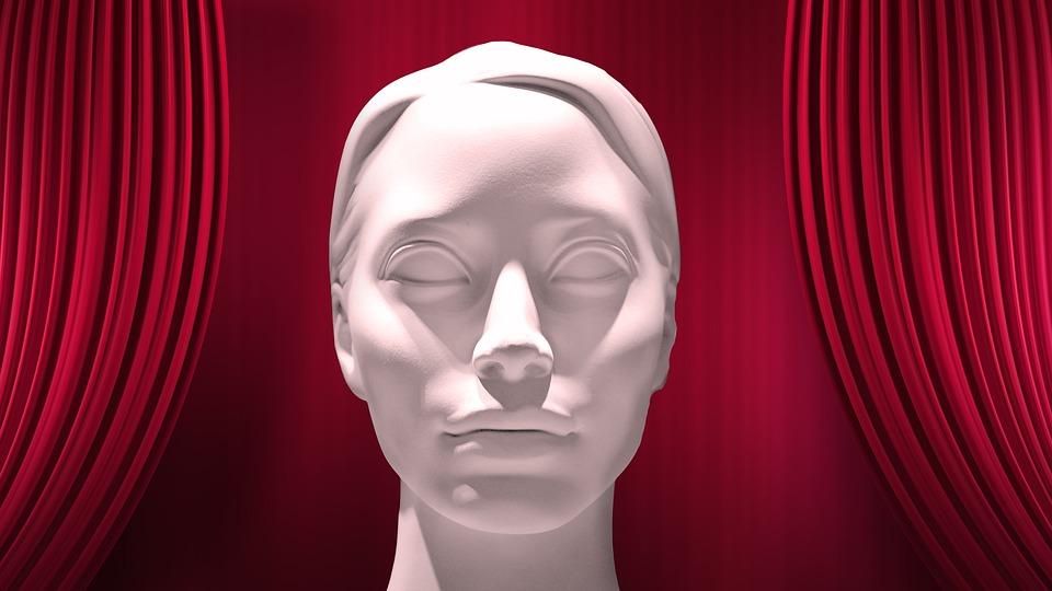 Mask, Curtain, Sculpture, Face, Eyes, Rigid, Dead