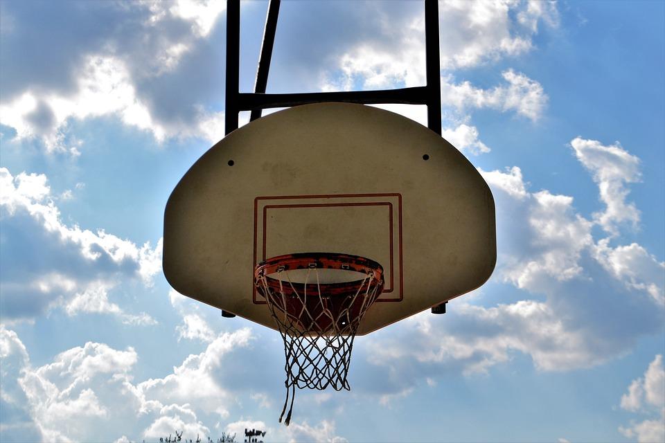 Basketball, Backboard, Rim, Clouds, Skyline, Cloudy