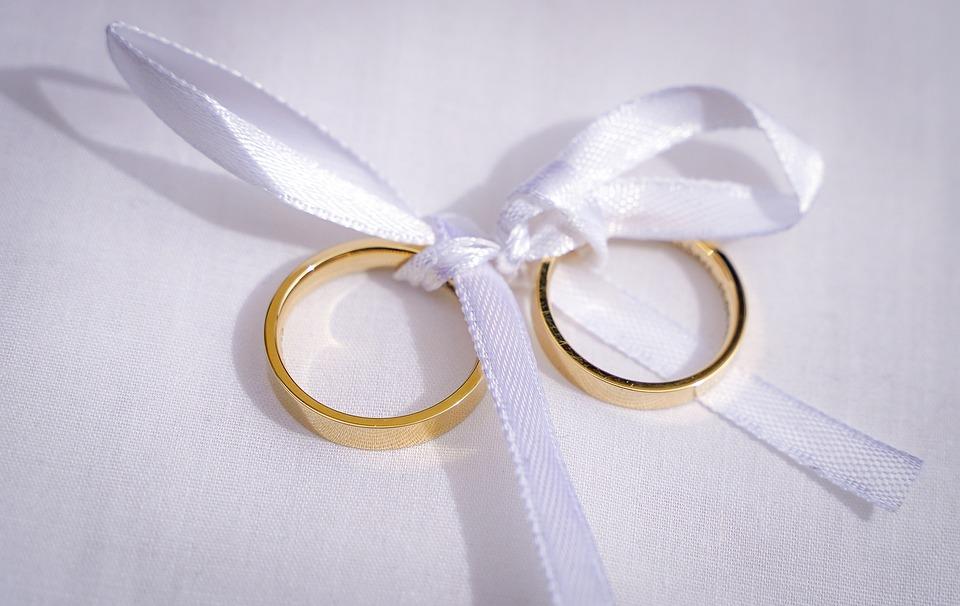 Rings, Wedding Rings, Golden Rings, White, Ring Pillow