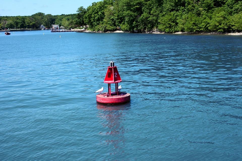 Buoy, Island, Float, Water, Blue, Ripple, Calm Water