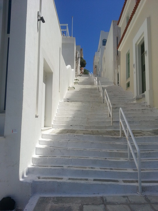 Greece, Stairs, White Houses, Rise, Island, Village